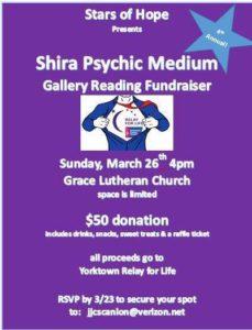 Relay for Life Stars of Hope Fundraiser Shira Psychic Medium Yorktown NY