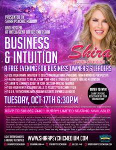 Shira Psychic Medium Business Intuition Seminar Psychic Intelligence Long Island NY October 2017