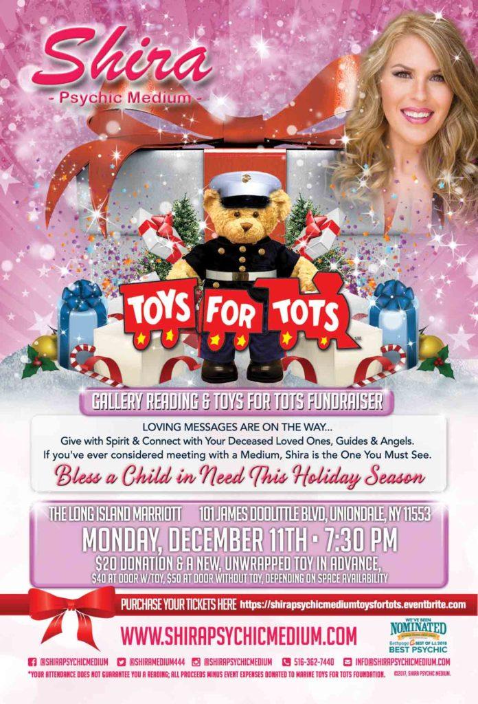 Shira Psychic Medium Toys For Tots Fundraiser Group reading Long Island NY Nassau County Marine Toys For Tots Foundation Spirit Mediumship