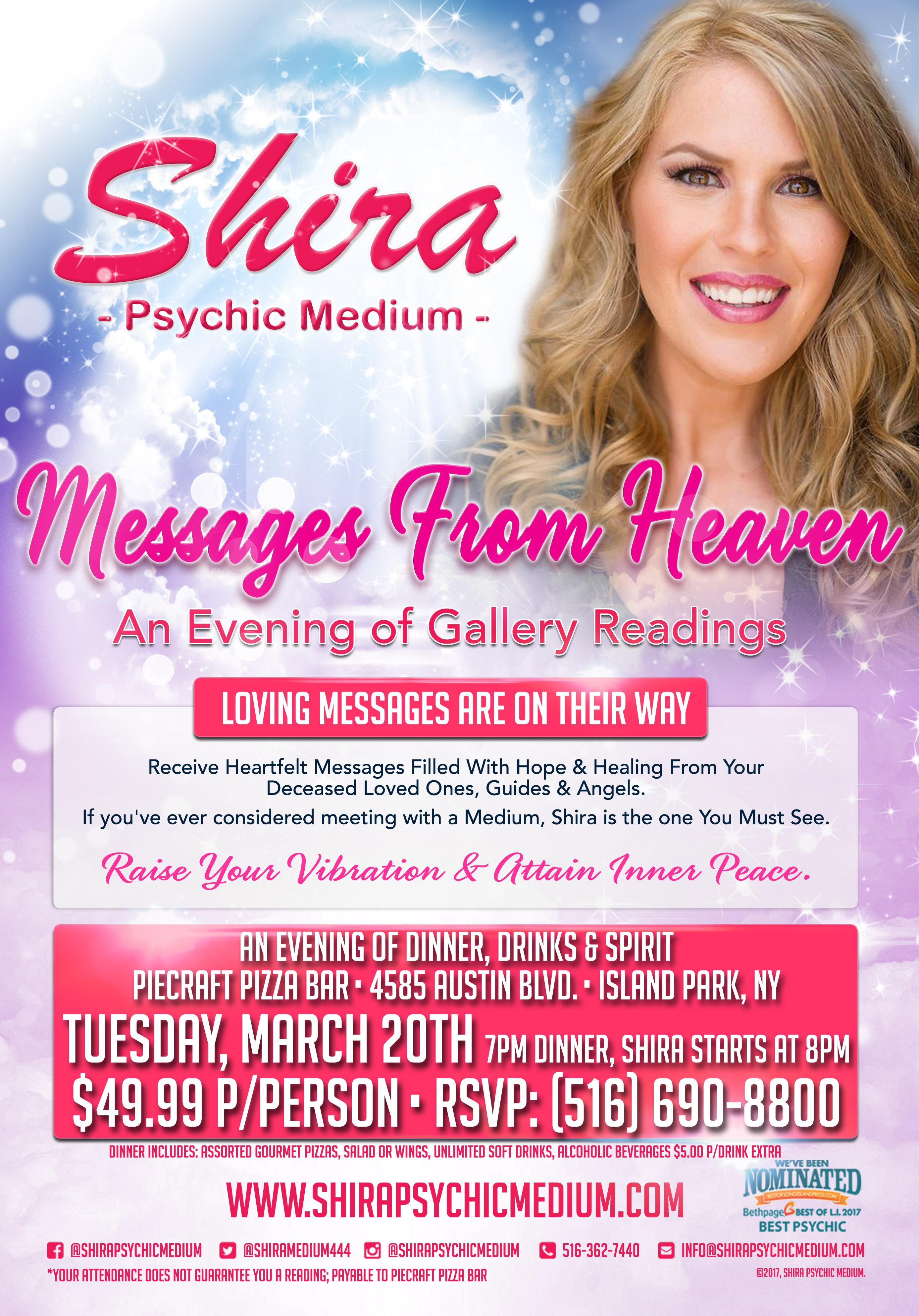 Shira Psychic Medium Messages From Heaven PieCraft Island Park March 2018
