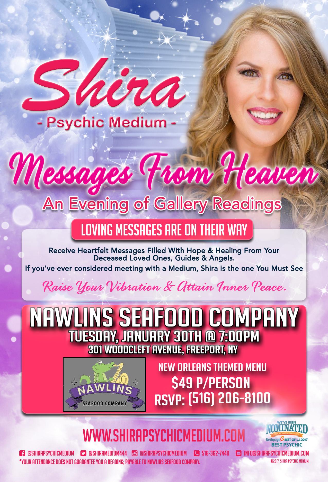 shira psychic medium Nawlins Seafood Company Long Island Restaurant