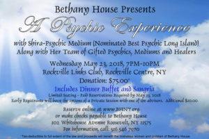 Shira Psychic Medium Bethany House Fundraiser For Homeless Women & Children Long Island NY